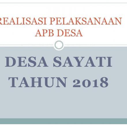 REALISASI PELAKSANAAN APB DESA 2018